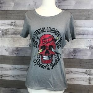 Harley Davidson Tee Size Small Gray Graphic Scull